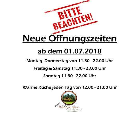 Öffnungszeiten Waldgasthaus Zum Kuckuck